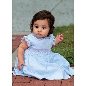 2cc88810867a8 Girls Pale Blue Hand Smocked Dress 011474 SS19 PRE-ORDER · Sarah Louise    Dani ...