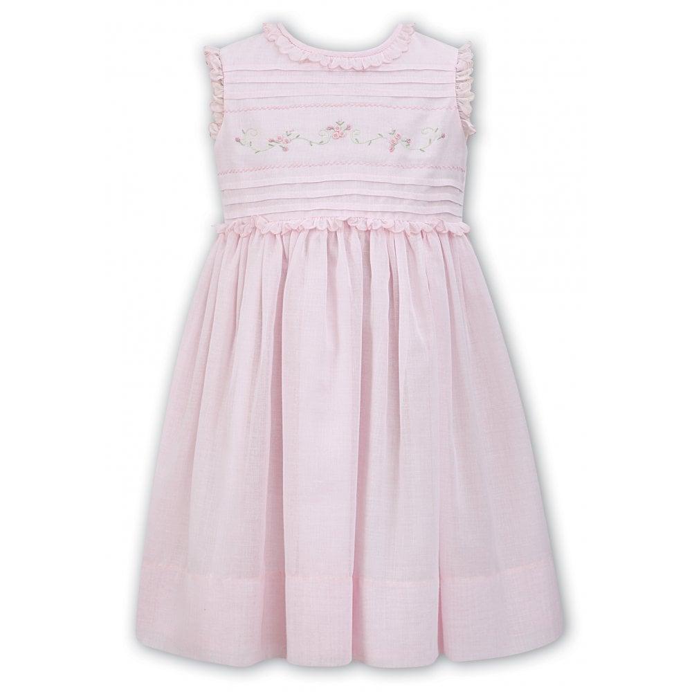cf93a2f339fa Sarah-Louise-Girls-Pink-Detail-Smocked-Dress-011491