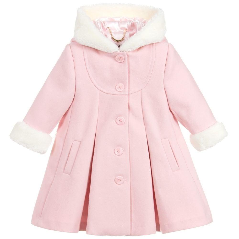 Girls Pink Wool Coat