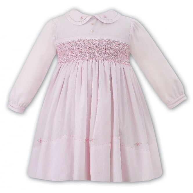 Sarah Louise & Dani Girls Pink Long Sleeved Smocked Bodice Dress