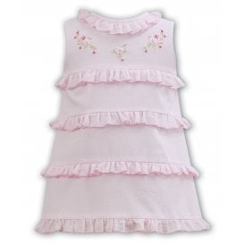 Girls Pink Sleeveless Tiered Dress
