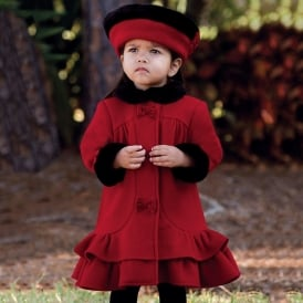 Girls Red Coat & Hat Set