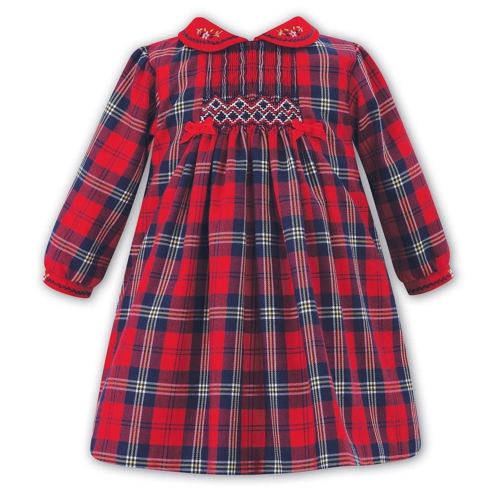 e73eba37aa3 Sarah-Louise-Girls-Red-Velvet-Tartan-Dress
