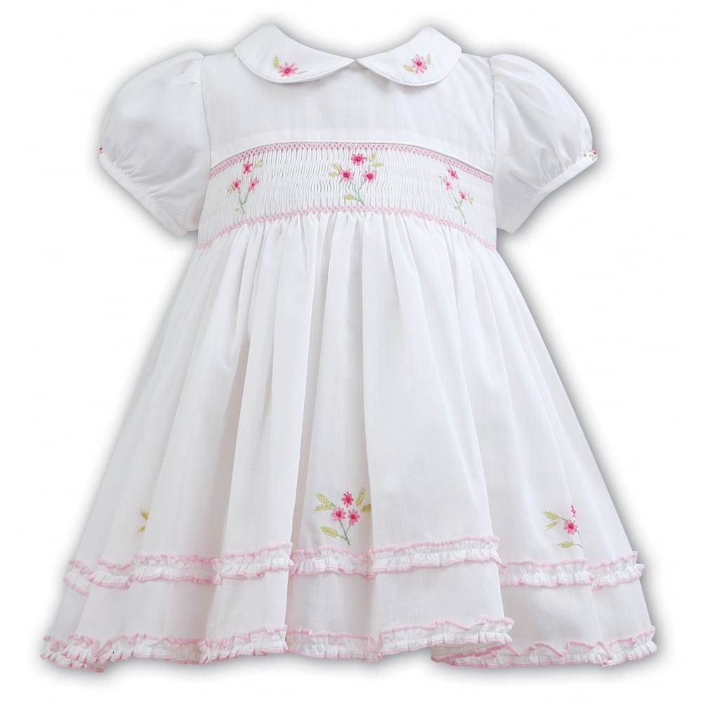 147b3fb0b Girls Short Sleeved Smocked Dress 011095 in Ivory