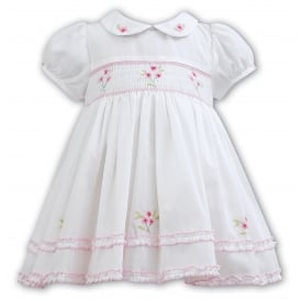Girls Short Sleeved Smocked Dress 011095 in Ivory