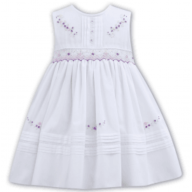 Girls White and Lilac Smocked Dress 011103