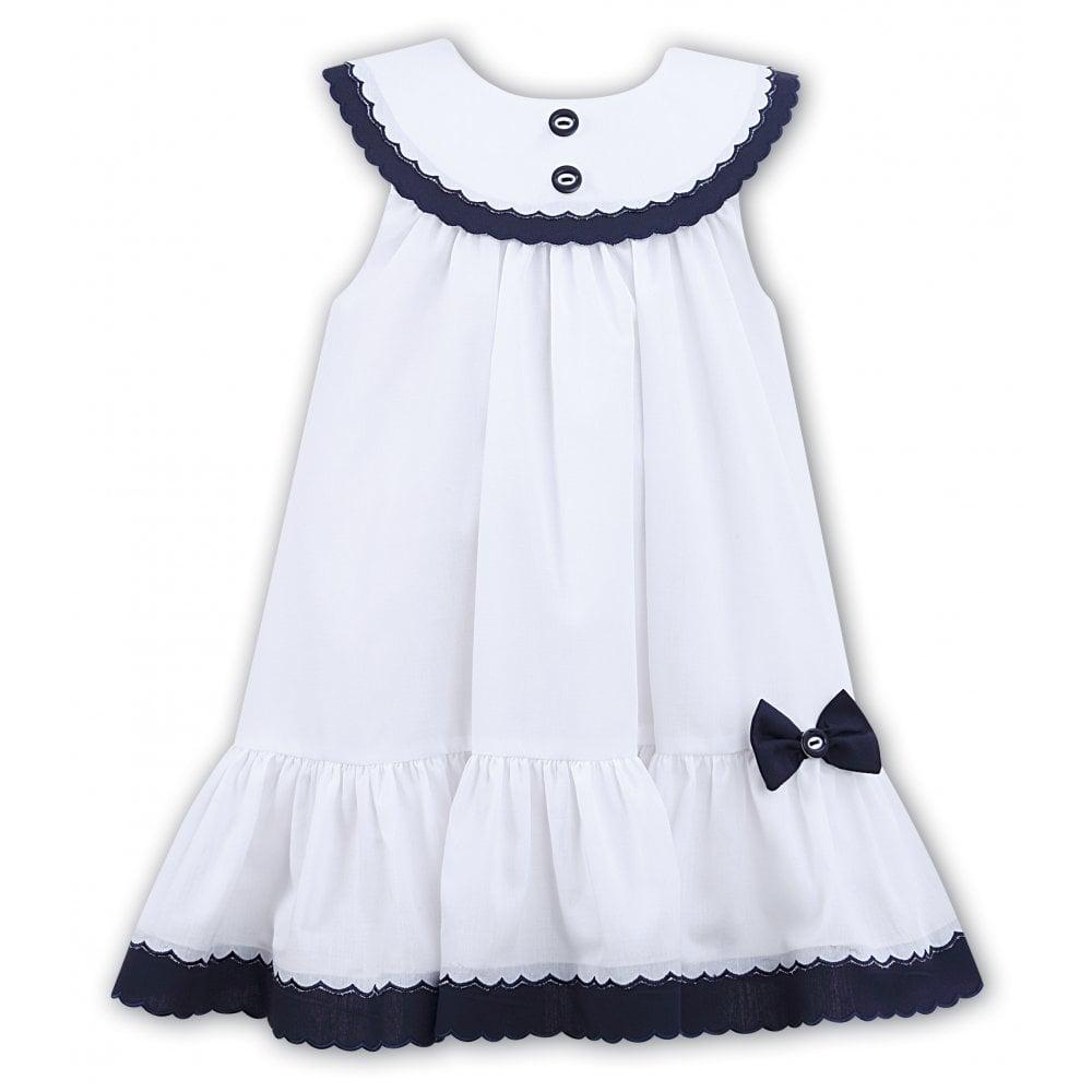 9b9cf3552 Sarah-Louise-Girls-White-and-Navy-Dress-011572