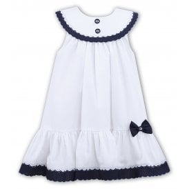 9eeeb82e526c0 Girls White and Navy Dress 011572 SALE. Sarah Louise ...