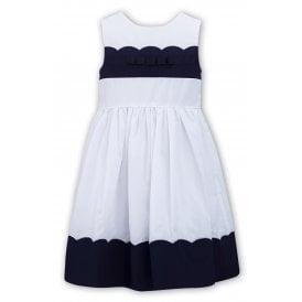 047b4400ac6 Girls White and Navy Dress 011574