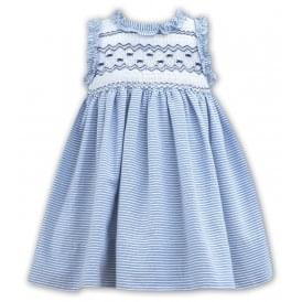 Girls White and Navy Smocked Dress 011126