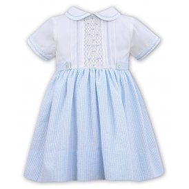88286722cfad9 Girls White and Pale Blue Smocked Dress SALE. Sarah Louise ...