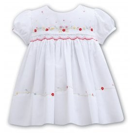 Girls White Embroidered Detail Dress 011057