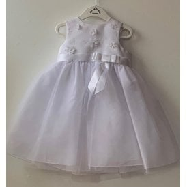 7a36df7efb2 Girls White Embroidered Tulle Dress 070053