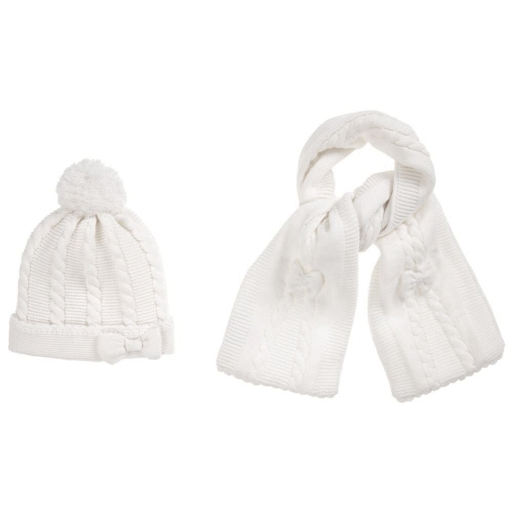 44c998bf0 Sarah-Louise-Girls-White-Hat-Scarf-Set