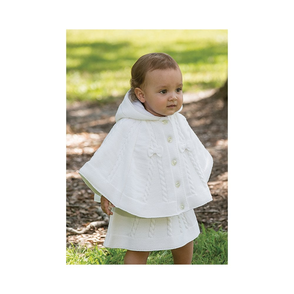 d0b97a71a28e Sarah-Louise-Girls-White-Knitted-Poncho-008061