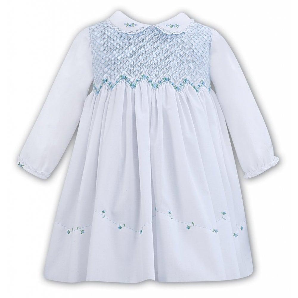 88bbf74e2397 Sarah-Louise-Girls-Smocked-Dress-011294-White-Blue