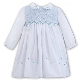 a0ebf9bb0bc0d Girls White with Blue Smocked Bodice Dress SALE. Sarah Louise ...