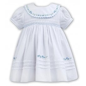 Girls White with Blue Smocked Dress 011082