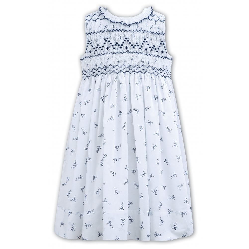 1e996b5a Girls White with Navy Hand Smocked Dress 011163