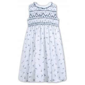 Girls White with Navy Hand Smocked Dress 011163
