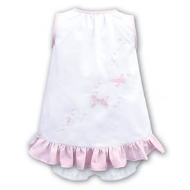 Girls White with Pink Embroidery Dress