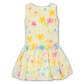 Girls Yellow Drop Waist Dress