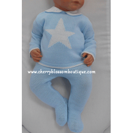 Baby Boy Knitted Leggings and Star Jumper Set
