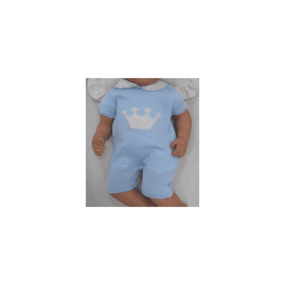 Sardon Baby Blue Knitted Shortie Romper