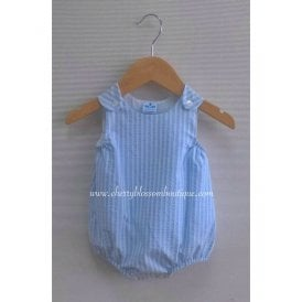bc1b477611be Baby Boy Light Blue and White Stripe Dungaree Romper
