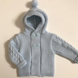 Baby Boy Pale Blue Hooded Cardigan