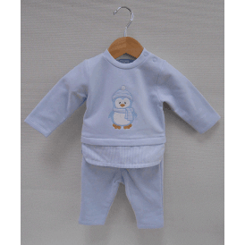 Baby Boy Pale Blue Penguin Top and Trousers