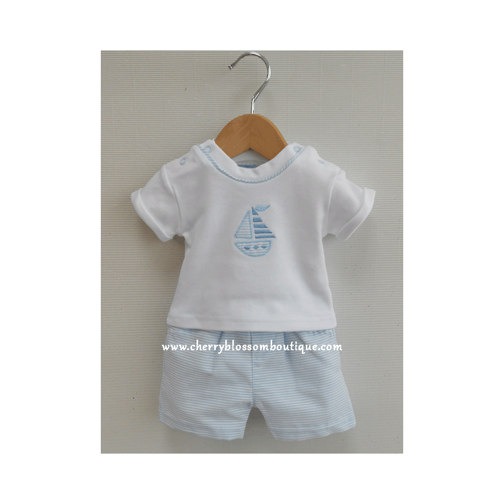 468a9ee89 Baby Boy White and Light Blue Sailboat Short Set