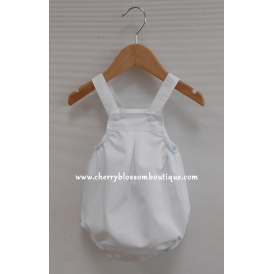 Baby Boy White Shortie Dungaree