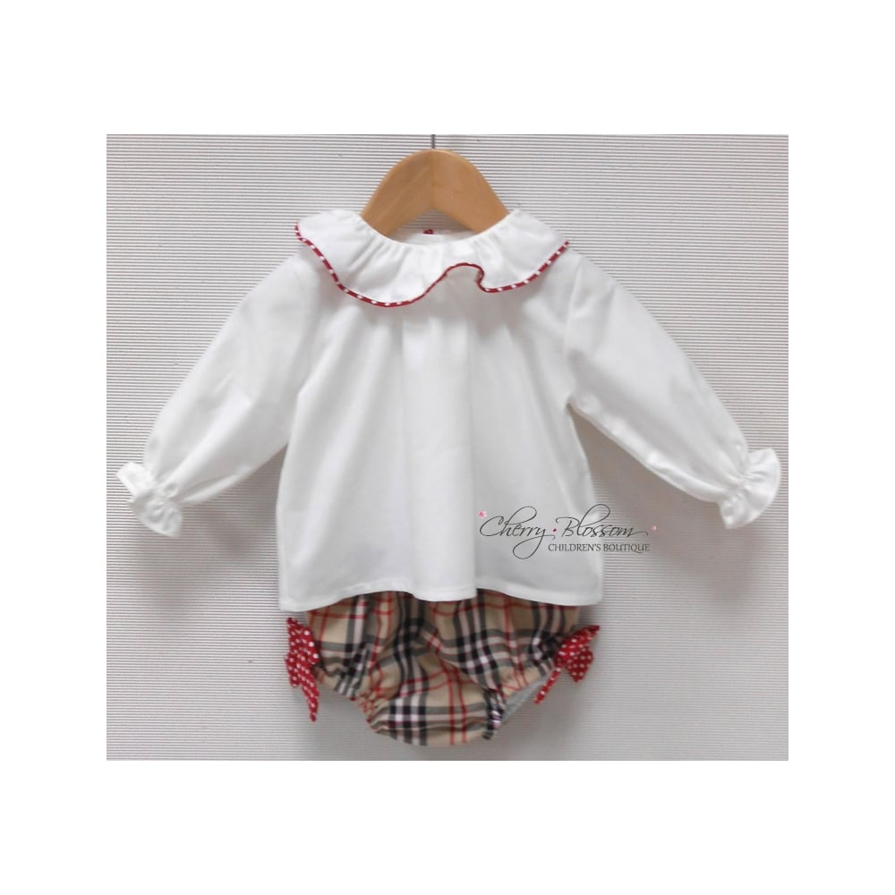 Spanish Style Baby Girl Lemon and White Jam Pants and Ruffle Collar Top Set
