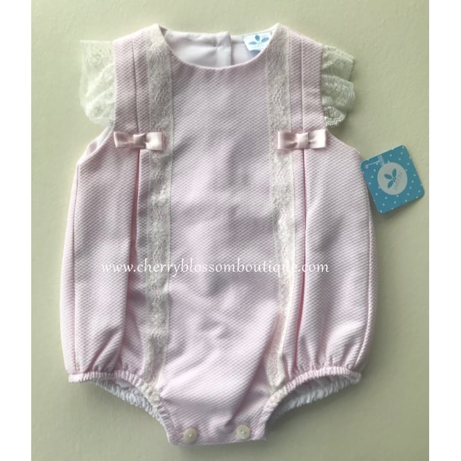Sardon Baby Girl Light Pink Romper with Lace Detail