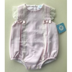 Baby Girl Light Pink Romper with Lace Detail