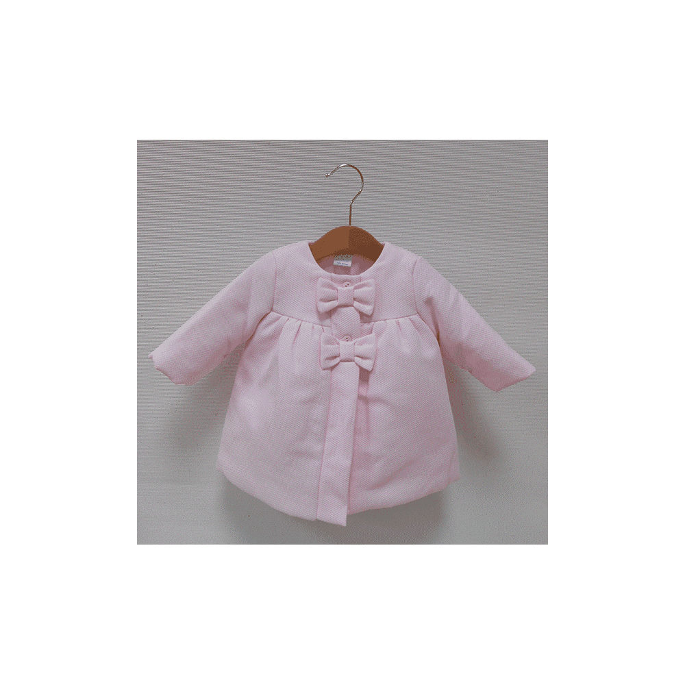 f3717ee3a Sardon-Baby-Girl-Pink-Wool-Coat-Bow-Buttons