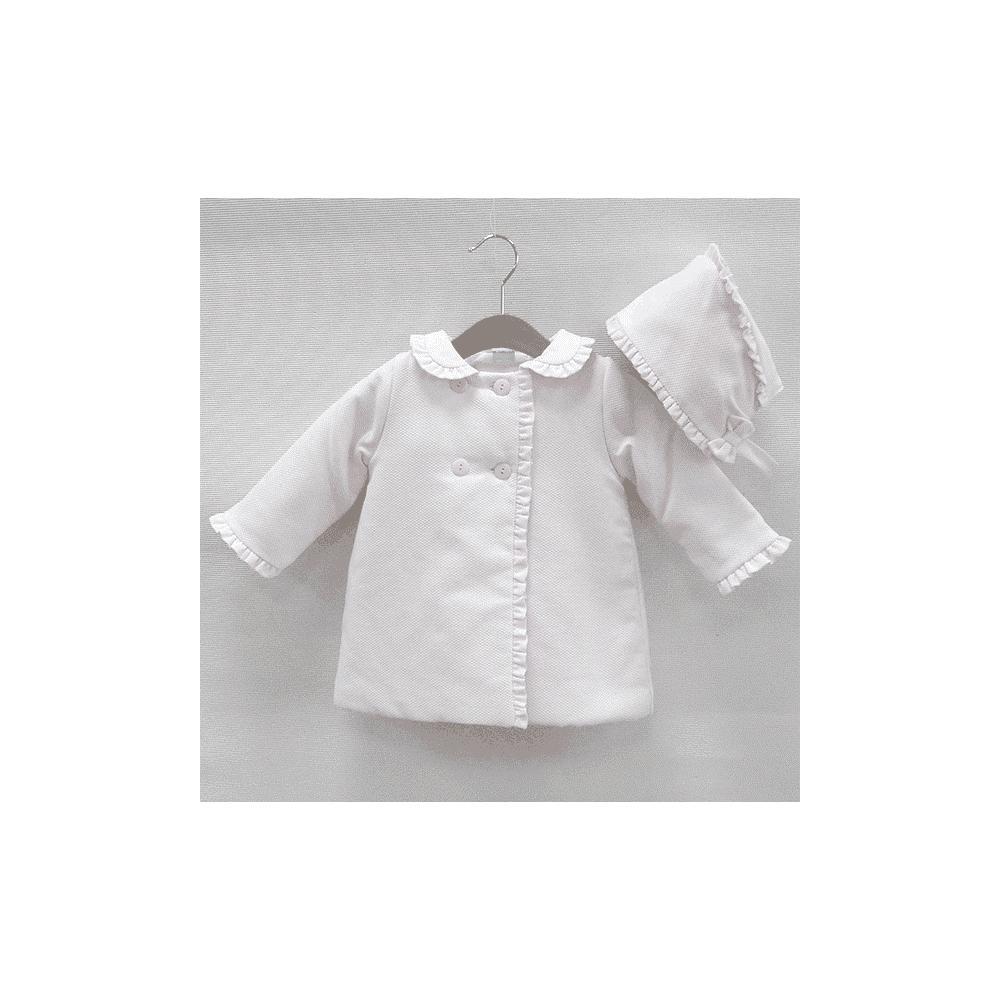 4e945fd61fe6 Sardon-Baby-Girl-White-Coat-and-Bonnet