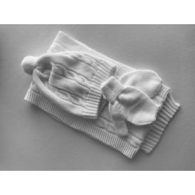 Baby Hat, Scarf and Mitts Set in White