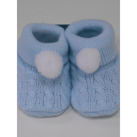 Baby Knitted Pom Booties in Blue