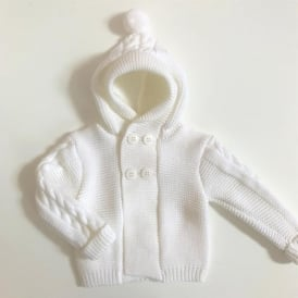 Baby Unisex White Hooded Cardigan