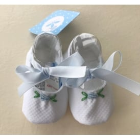 Baby White with Blue Ribbon Crib Shoe