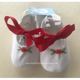 Baby White with Red Ribbon Crib Shoe
