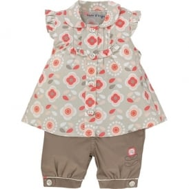 Baby Girl Coral Blouse and Trouser Set