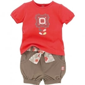 Baby Girl Coral Shorts and T-shirt Set