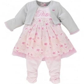 Baby Girl Pink and Silver Grey Dress & Legging Set