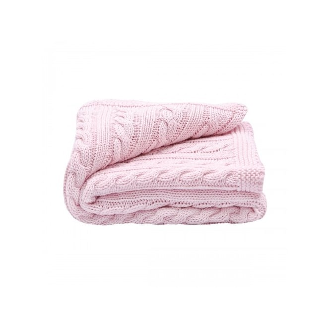 Toffee Moon Pale Pink Cable Knit Blanket